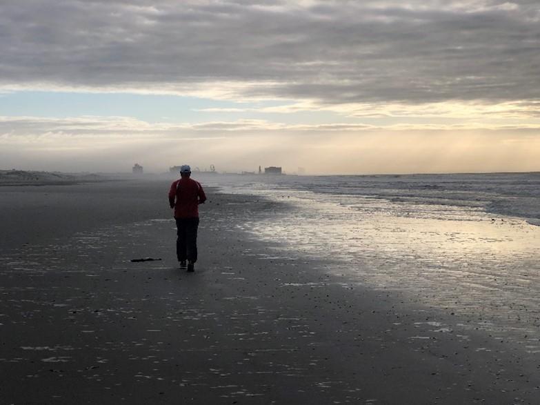 Walking along a beach